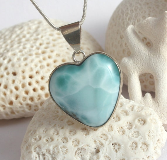 Dominican Larimar Aqua Teal Heart Pendant Sterling Silver