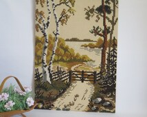 Vintage Large Embroidered Picture, Embroidered Landscape, Handmade Swedish Wall Art, 35,8 x 23 inch, Scandinavian Country Scene #2-24