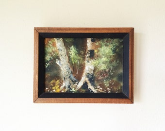 Small Framed Birch Forest Pastels Chalk Painting on Board in Deep Wood Frame Unsigned