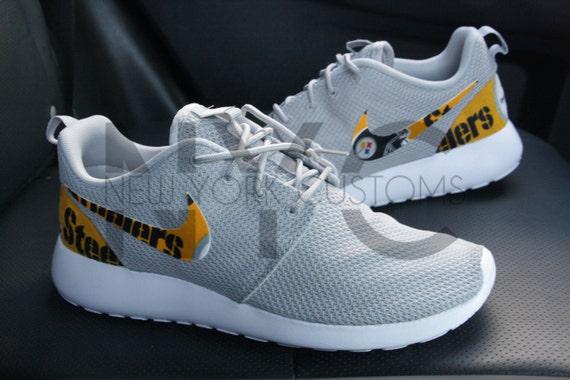 c2b4938fb016 30%OFF Pittsburgh Steelers Nike Roshe Run Grey Custom Men by NYCustoms