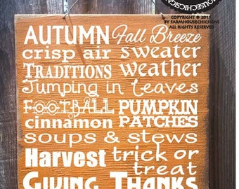 fall decor, thanksgiving sign, holiday sign, fall sign, Autumn Words Sign, Fall Words Sign, Thanksgiving decor, holiday decor
