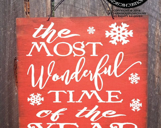 Christmas decoration, Christmas decor, Christmas sign, most wonderful time of the year, Christmas quote, Andy Williams Christmas sign,