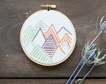 Mountains - Embroidery Hoop Art - Mountains of Thread Embroidery Art in 4-inch Hoop - Mountains - Wanderlust - Travel