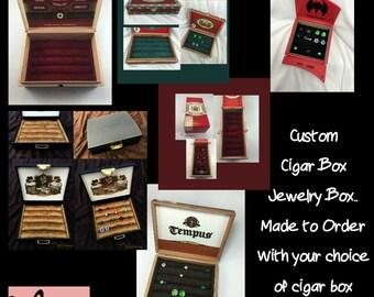 Custom, Cigar Box, Jewelry Box, Ring Display, Cufflink Box, Stud Earring Organizer, Ring Storage, unique, birthday, anniversary gift for him