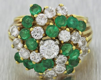 1960s Vintage Estate 18k Solid Yellow Gold 3.0ctw Diamond 4.0ctw Emerald Ring