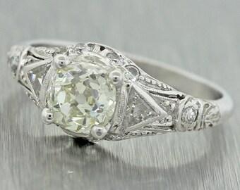 1920s Antique Art Deco Platinum 1.03ct OMC EGL Certified Diamond Engagement Ring