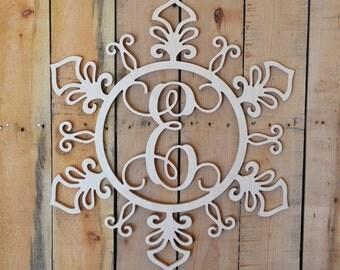 Snowflake Monogram door hanger - rustic ornament