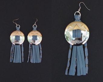 SALE. Conchos. Silver conchos. Western Conchos. Leather fringe earrings. Fringe earrings. Western jewelry. Concho jewelry. Western earrings