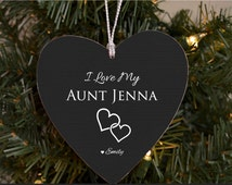 Christmas Gift for Aunt Auntie Personalized Ornament from Niece Nephew I Love My Aunt Aunt Niece Ornament