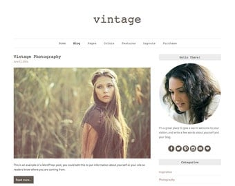 "WordPress Theme ""Vintage"", Responsive WordPress Theme, Blog Web Design, Premade Blog Template, for WordPress.org Websites"