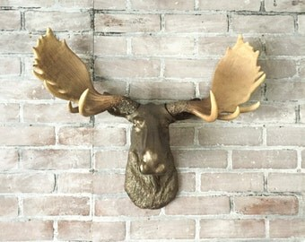 ANY COLOR Faux Moose Head // Animal Wall Mount // Faux Taxidermy // Man Cave // Elk Antler // Wildlife // White Resin Moose // Man Cave