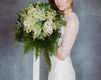 Ivory silk ribbon, 6 yards hand-dyed ivory  silk habotai ribbon, bouquet ribbon, bridal bouquet silk ribbon, wedding styling