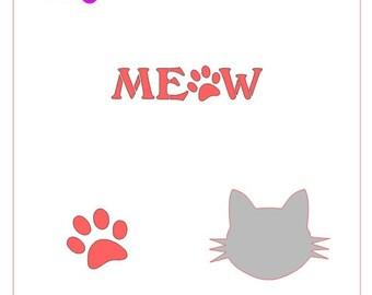 Cat Meow Paw Stencil