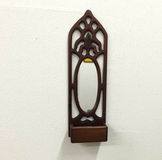 Wood wall pocket with mirror rustic carved wood mirror for Narrow wall mirror decorative