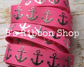"7/8"" Silver Foil Anchors on Hot Pink USDR 1 yard grosgrain ribbon nautical"