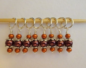 Snag Free Stitch Markers in Brown and Copper (Set of 8)    (E0038)