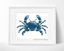 Blue Watercolor Crab Print, Printable Art for Cards, Nursery, Kids Room, or Beach Decor, Instant Download