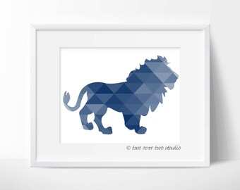 Blue Lion Print, Triangle Geometric Wall Art, Safari Nursery, Playroom Decor
