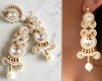 Soutache Parure, Handmade Parure, Hand Embroidered, Soutache Jewelry, Handmade from Italy, OOAK