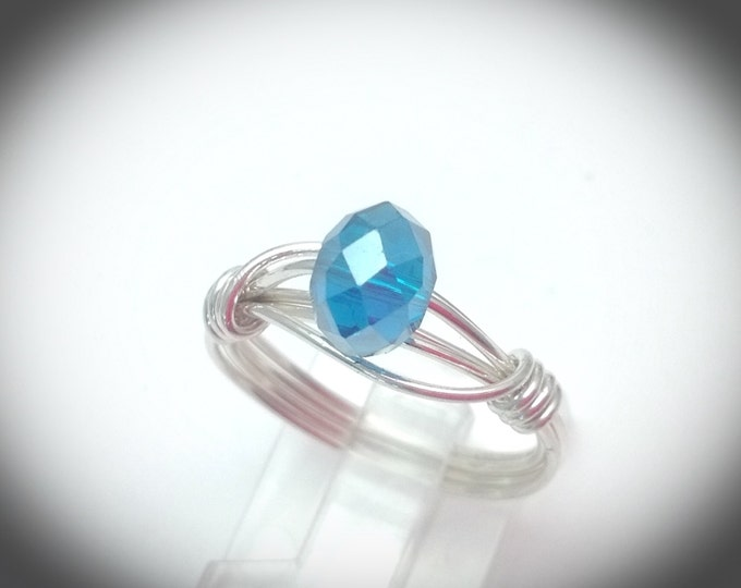 Silver double band wire wrapped ring with crystal