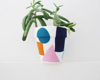 Hand Painted Shapes Plant Pot - 11cm