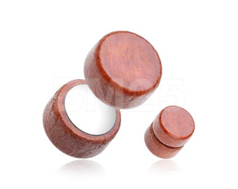 A Pair of Cherry Wood Magnet Fake Plug