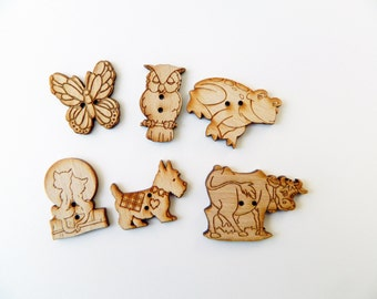 animal wooden buttons - wooden buttons - haberdashery - owl cat butterfly - sewing buttons - sewing supplies - scrapbooking - card making