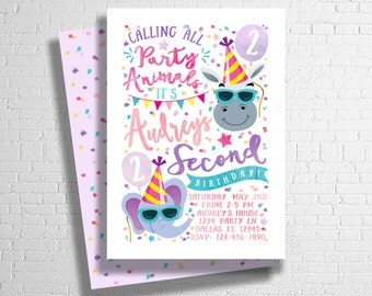 Party Animal Birthday Invitation | Zoo Birthday Invitation | Animal Birthday Invite | Calling all party animals | ANY AGE - DIGITAL only