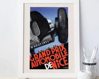 NICE GRAND PRIX Poster Vintage Car Racing Poster Nice France Poster 1935 Grand Prix Poster Art Deco Car Poster