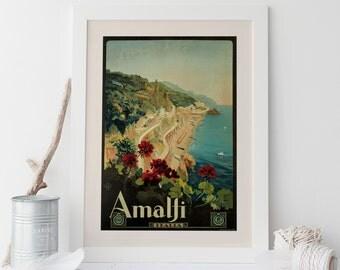 Vintage Travel Poster ITALY Travel Print Travel Art Travel Ad Art Deco Poster Italian High Quality Amalfi Art Print Frame-Ready Ribba