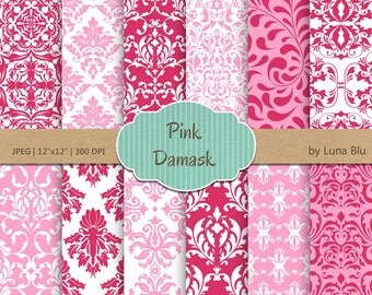 """Pink Damask Digital Paper: """"Pink Damask"""" pink digital paper, for cardmaking, invitations, pink scrapbooking paper"""