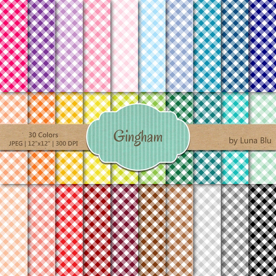 Gingham Digital Paper Pack Rainbow Gingham Digital Paper Bundle