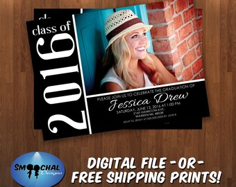 Graduation Party Invitation #6 -- Custom Invitations -- Digital File OR Free Shipping Prints