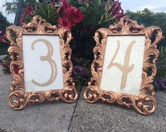 Table number frames 4 x 6 rose gold wedding frames ornate baroque style