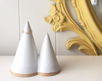 Ceramic Ring Holder, Ring cone, Funsize Ceramics Ring Mountain. Glossy White. Wedding gift.