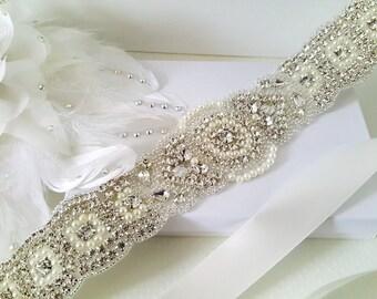 Wedding Belt, Bridal Belt, Sash Belt, Crystal Rhinestone & Off White Pearls - Style 153