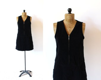 vintage jumper 90's dress black velvet minimalist zipper 1990's women's clothing size s small