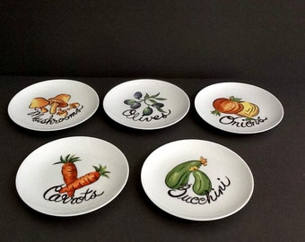 Lenox Plates, Set of 5, Side Plates with Vegetable Motifs, Appetizer or Luncheon Plates