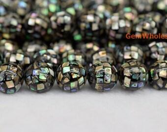 8 beads 12mm Mosaic Abalone Shell beads, Natural abalone shell beads, paua shell ball beads 12mm round Beads