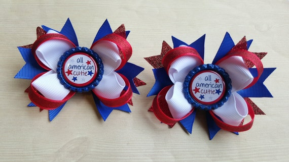 4th of July girls hairbows. Set of 2. Perfect for piggy tails :) All American Cutie. Sparkle ribbon!