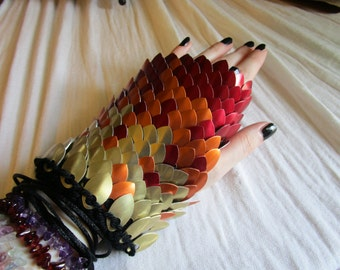 Fire Dragon Scale Gloves/Dragon Scale Armor/ Scalemaille/ Dragonhide