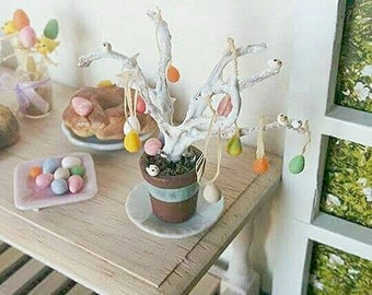 1:12 Dollhouse miniature Easter tree with eggs / Easter miniature scale one inch / Dollhouse Miniature Easter decoration / Dollhouse Easter