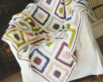 Crochet Granny Square Pastle Blanket / Throw Crochet PDF Pattern Instant Download