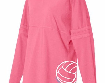 Volleyball Pom Pom Jersey Top - Hot Pink, Black, and Grey Long-Sleeved Women's Volleyball T-Shirt