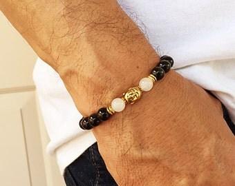 Buddha Bracelet. Men's Bracelet. Buddhist Bracelet. Yoga. Obsidian Bracelet. Jade. Protection Bracelet. Healing Jewelry. Prayer Beads #2M87