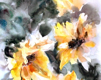 Sunflowers Art Print, Watercolor painting of sunflowers, floral wall art, watercolor print