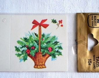 Vintage Christmas Gift Tags - Holly Basket - 3 Norcross