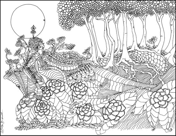 mother nature coloring pages | The Door 8.5x11 Adult coloring page Coloring page mother