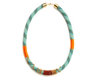 Statement Rope Necklace, Big And Bold Textile Necklace, Beaded Rope Necklace, Colorful Rope Jewelry, Unique Necklace, Gift For Her