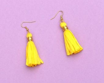 Yellow Tassel Earrings, Boho Tassel Earrings, Colorful Fabric Earrings, Summer Earrings, Textile Earrings, Tassel Jewelry